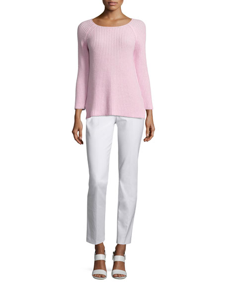 Michael Kors Round-Neck Shaker Sweater, Ballerina