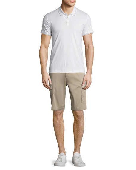 Theory Boyd Tipped Short-Sleeve Polo Shirt, White