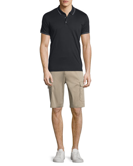 Theory Boyd Tipped Short-Sleeve Polo Shirt, Black