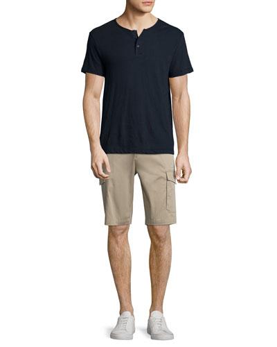 Nayte Short-Sleeve Slub Henley T-Shirt & Zaine Straight-Leg Cargo Shorts