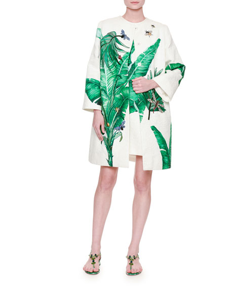 Dolce & GabbanaEmbroidered Banana-Leaf Topper Coat, White/Green
