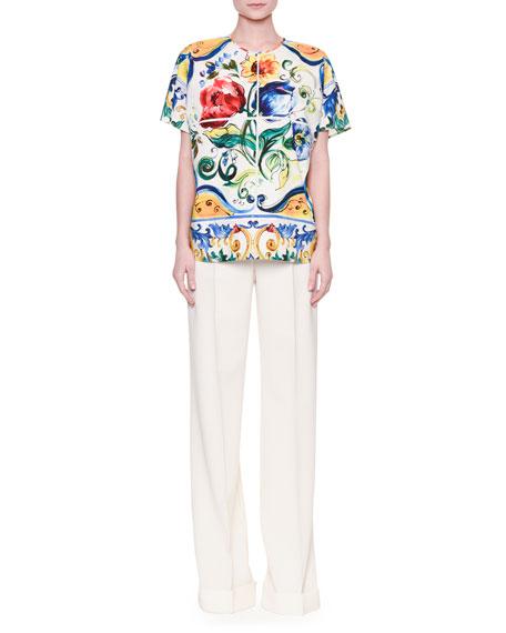Dolce & GabbanaMaiolica Tile-Print Easy Blouse, White/Blue/Yellow