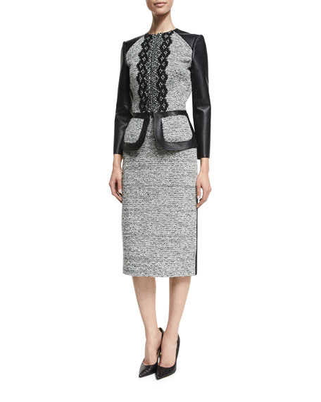 Oscar de la Renta 3/4-Sleeve Zip-Front Leather/Tweed Peplum