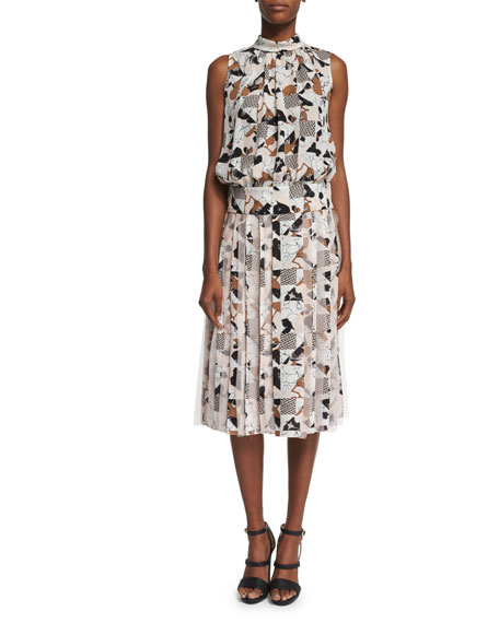 Oscar de la Renta Sleeveless Mixed-Print Silk Blouse,