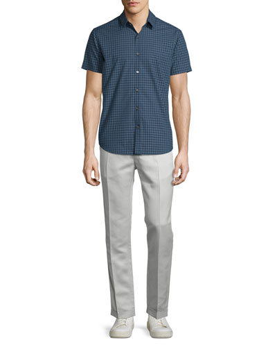 Short-Sleeve Micro-Check Woven Sport Shirt, Theorist Multi & Muller Slim-Fit Trousers, Arp