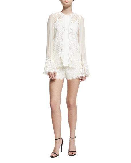 AlexisAmilina Long-Sleeve Lace Silk-Trim Top, Ivory