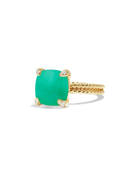 Châtelaine 18k Gold 14mm Chrysoprase Ring w/ Diamonds, Size 6