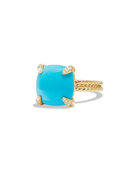 David Yurman Châtelaine 18k Gold 14mm Turquoise Ring