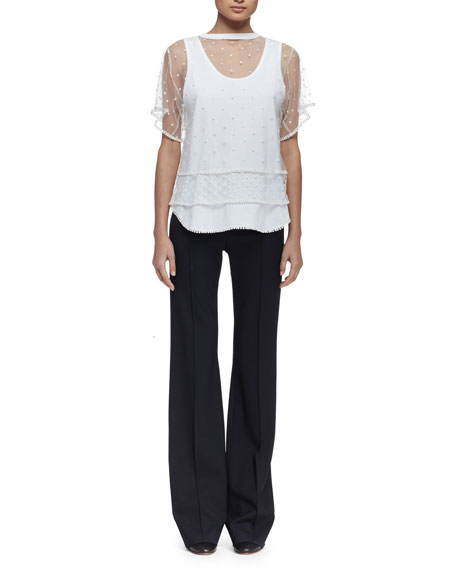 Chloe Short-Sleeve Embroidered-Overlay Tee, Optic White