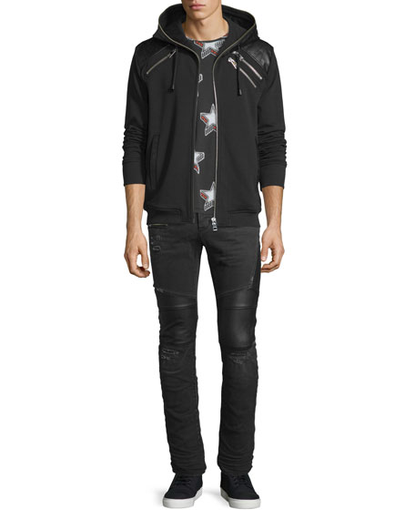 Just Cavalli Zip Hoodie with Leather-Trim, Black