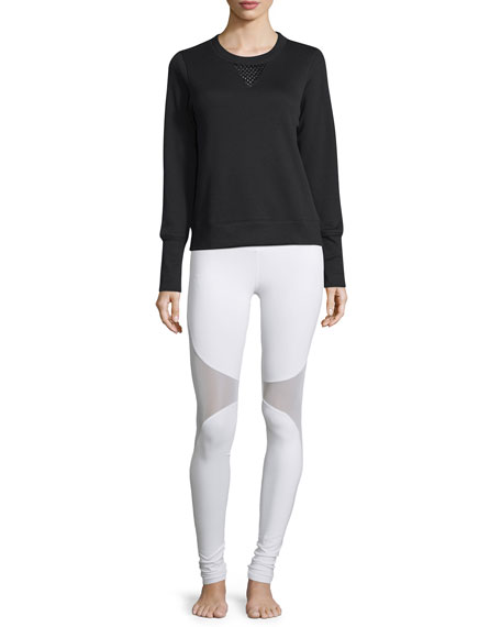 Alo Yoga Downtown Mesh-Panel Long-Sleeve Sport Pullover