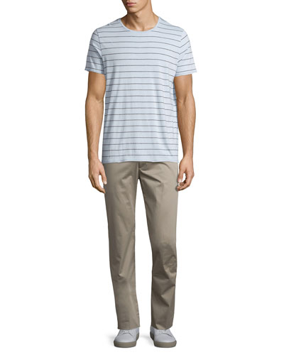 Shadow-Striped Short-Sleeve Crewneck Tee & Flat-Front Stretch Sateen Pants