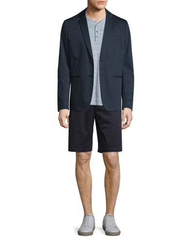 Deconstructed Two-Button Sateen Jacket, Jasper Sporty Long-Sleeve Henley Shirt & Flat-Front Sateen Shorts