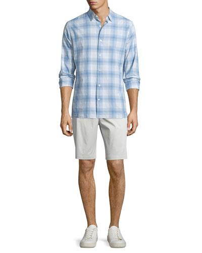 Plaid Linen-Blend Long-Sleeve Sport Shirt & Flat-Front Sateen Shorts