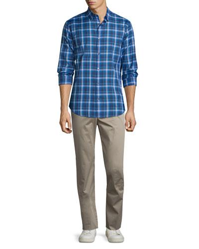 Manhattan Plaid Long-Sleeve Sport Shirt & Flat-Front Stretch Sateen Pants