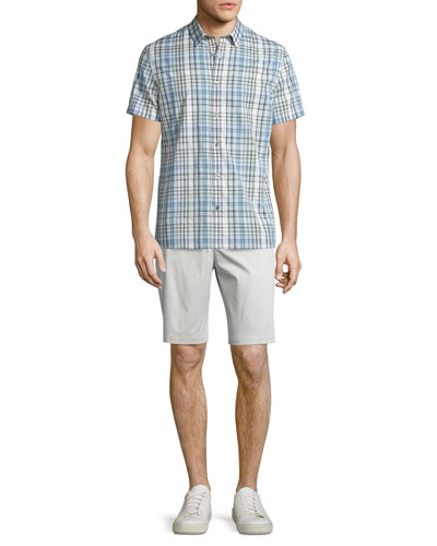 Melrose Plaid Short-Sleeve Shirt & Flat-Front Sateen Shorts