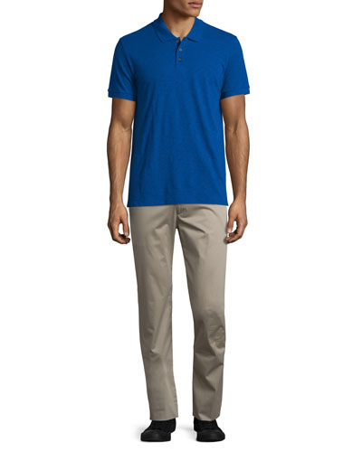 Short-Sleeve Slub Polo Shirt & Flat-Front Stretch Sateen Pants