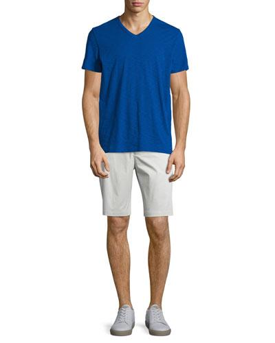 Slub Short-Sleeve V-Neck Tee & Flat-Front Sateen Shorts