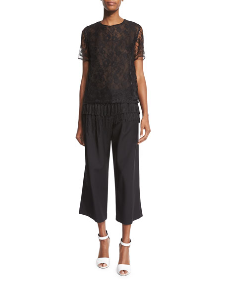 Adam Lippes Short-Sleeve Lace T-Shirt W/Fringe Hem, Black