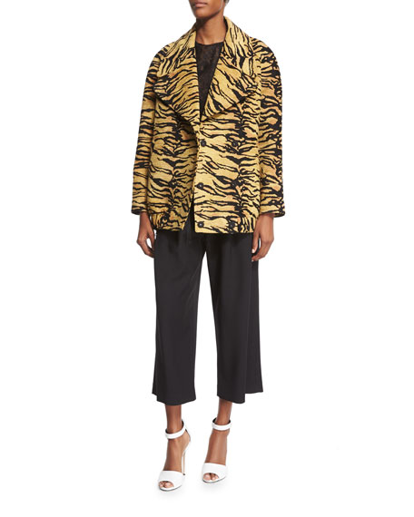 Adam Lippes Double-Breasted Tiger-Print Coat, Tiger