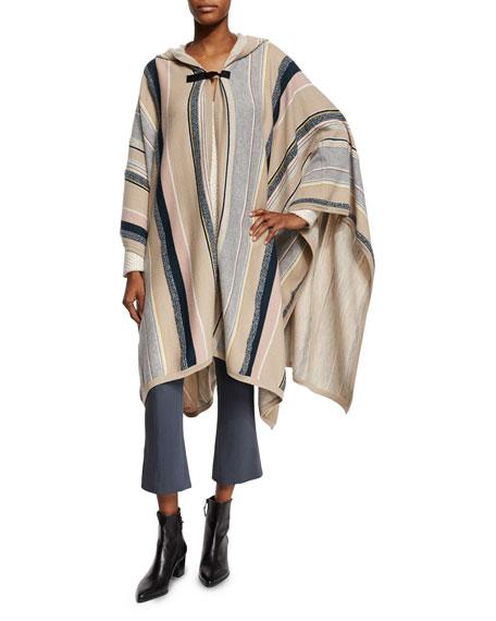 Maiyet Long-Sleeve Hooded Poncho, Multi Stripe