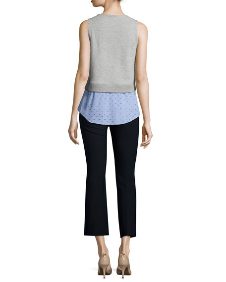 Knit Sweatshirt Combo Tank, Blue/Gray