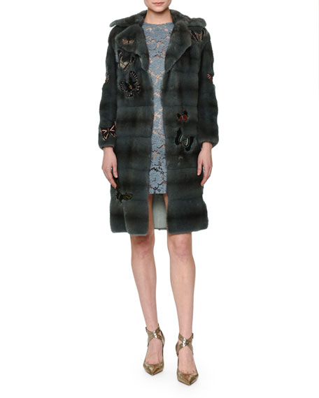 Valentino Fur Coat W/Japanese Butterfly Appliqué, Blue
