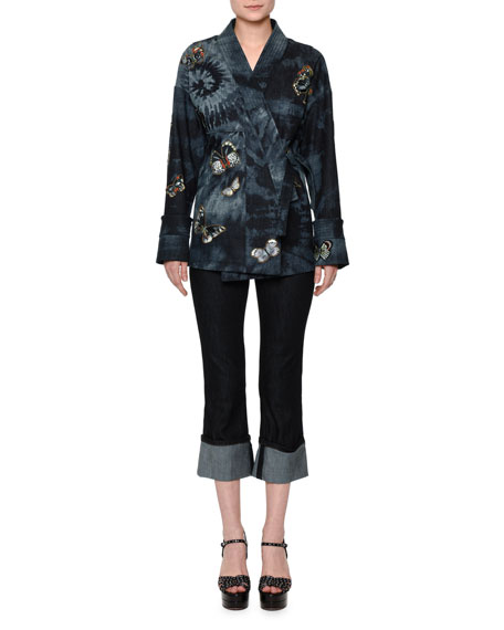Valentino Butterfly-Embellished Tie-Dye Wrap Jacket, Indigo