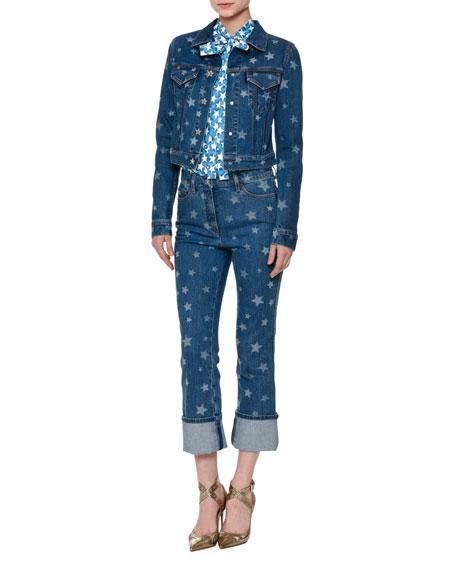 Valentino Laser Star-Print Cropped Jean Jacket, Light Blue