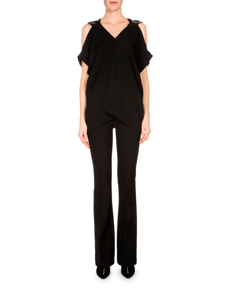 Roland Mouret Leo Cold-Shoulder Embellished Top, Black