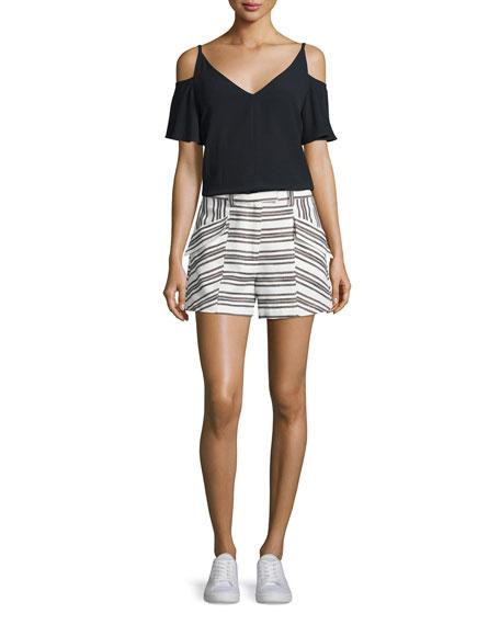 A.L.C. Olivia Crepe Cold-Shoulder Top, Black