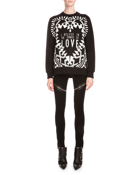 Givenchy Power of Love Long-Sleeve Graphic Sweatshirt, Black