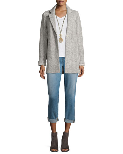 Twisted Terry Long Jacket, Short-Sleeve Organic Cotton V-Neck Tee & Stretch Boyfriend Jeans