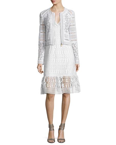 Diane von Furstenberg Arlette Cropped Lace Zip-Front Jacket,