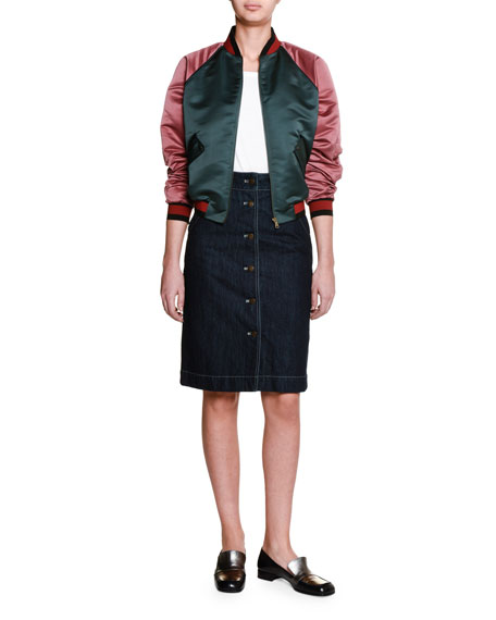 Tomas MaierColorblock Zip-Front Bomber Jacket, Sage/Raspberry