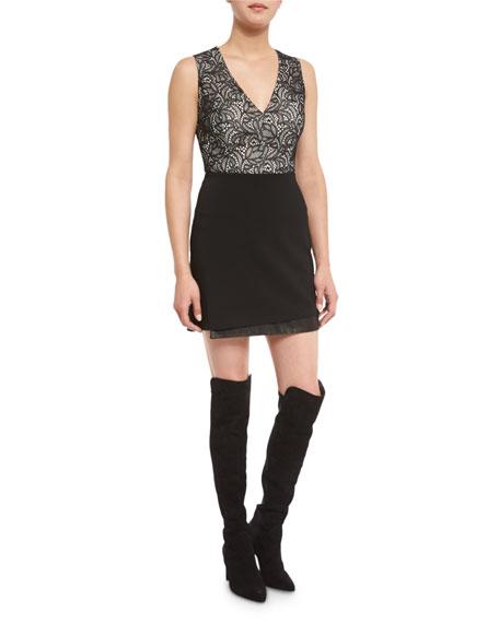 Alice + Olivia Zooey Lace V-Neck Bodysuit, Black/White
