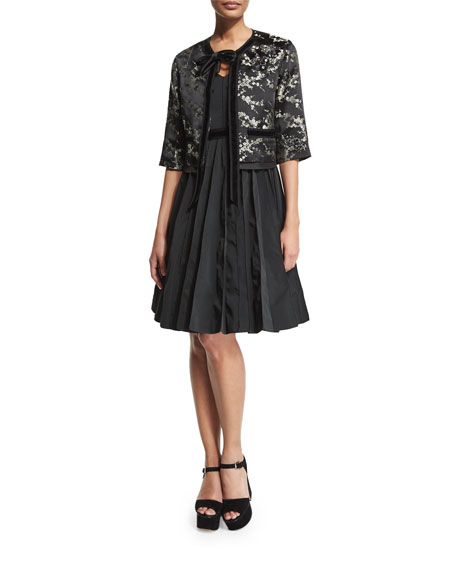 Marc Jacobs Embellished Velvet-Trim Jacket, Gold/Multi