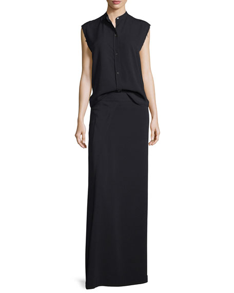 Helmut Lang Sleeveless Back-Knot Poplin Shirt, Black