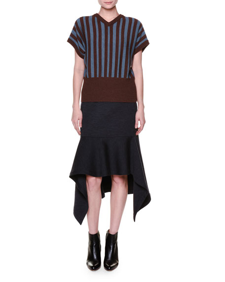 Marni Short-Sleeve V-Neck Striped Sweater, Sadellee Brown