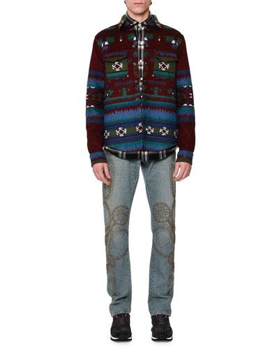 Tribal-Print Woven Shirt Jacket, Western-Style Plaid Flannel Shirt & Embellished Five-Pocket Denim Jeans