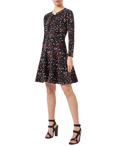 Boulder-Print Bolero Cardigan & Fit & Flare Dress