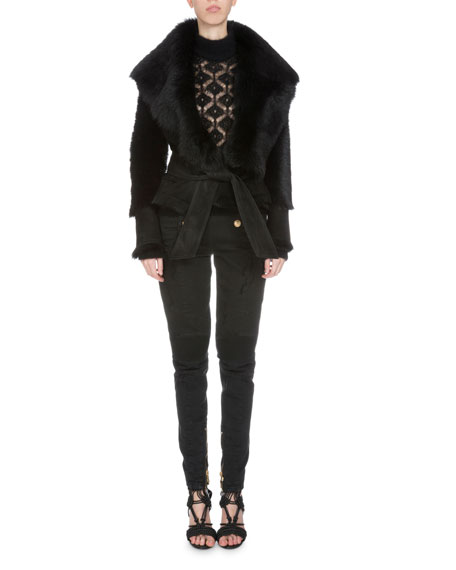 Balmain Long-Sleeve Belted Shearling Fur Vest, Black