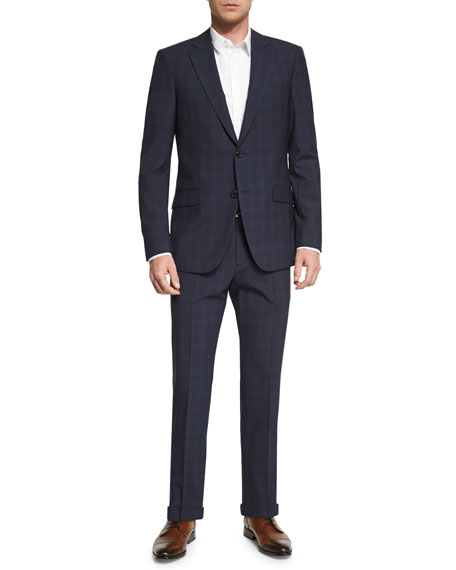 Theory Malcolm Mantee Shadow-Check Wool Sport Coat, Blue
