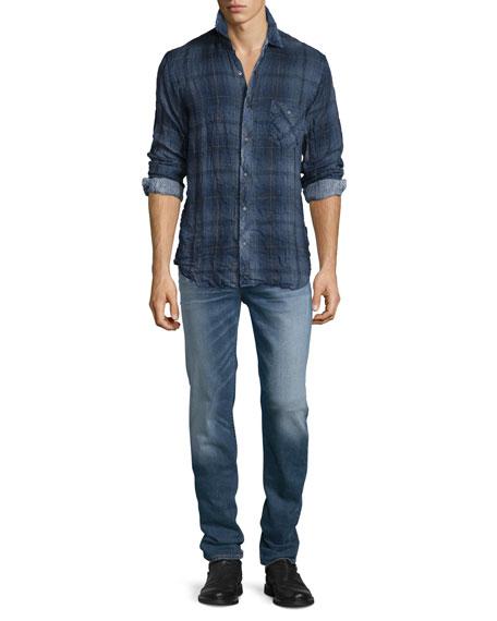 Hudson Jeans Weston Plaid Long-Sleeve Wrinkled Shirt, Navy