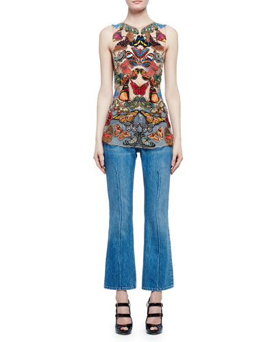 Sleeveless Embroidered-Butterfly Mesh Top & Flare-Leg Cropped Jeans