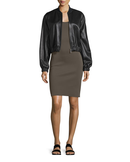 Helmut Lang Cropped Leather Jacket, Black