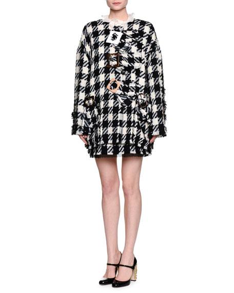 Dolce & Gabbana Macro Houndstooth Oversized Jacket, Black/White