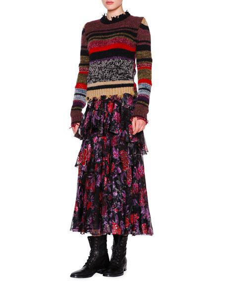 EtroLong-Sleeve Raw-Edge Striped Sweater, Violet/Multi