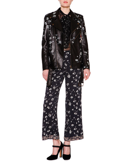 Etro Hand-Painted Leather Biker Jacket, Black/Multi