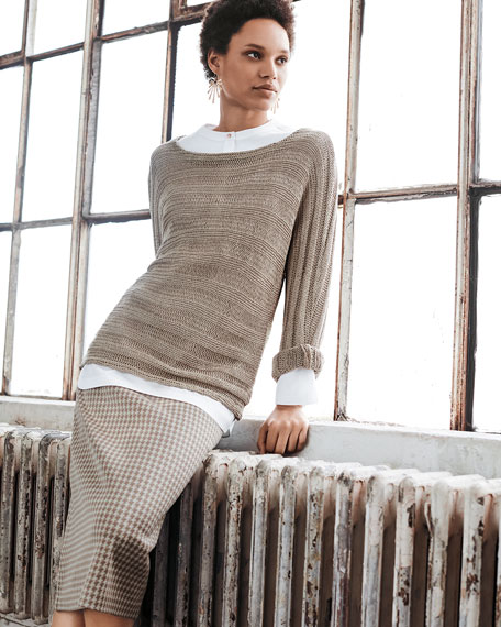Round-Neck Knit Sweater, Almond, Plus Size